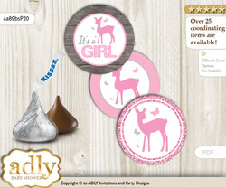 Printable  Girl Deer Candy Kisses for Baby Girl Shower DIY Pink , Glitter