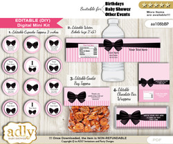 Text Editable Girl Bow Baby Shower, Birthday DIY digital package, kit-cupcake, goodie bag toppers, water labels, chocolate bar wrappers