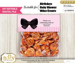 Text Editable Girl Bow Goodie  Treat Bag Toppers, DIY Favor Bag Digital File, print at home