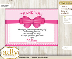 Girl Bow Thank you Printable Card with Name Personalization for Baby Shower or Birthday Party n
