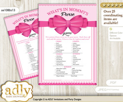 Girl Bow What is in Mommy's Purse, Baby Shower Purse Game Printable Card , Pink,  Baby