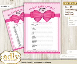 Printable Girl Bow Baby Animal Game, Guess Names of Baby Animals Printable for Baby Bow Shower, Pink, Baby