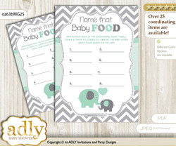 Boy Elephant Guess Baby Food Game or Name That Baby Food Game for a Baby Shower, Mint Grey Chevron