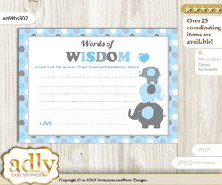 Blue Grey Boy Peanut Words of Wisdom or an Advice Printable Card for Baby Shower, Polka