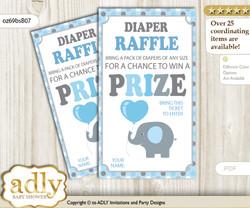 Boy Peanut Diaper Raffle Printable Tickets for Baby Shower, Blue Grey, Polka
