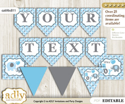 Personalizable Boy Peanut Printable Banner for Baby Shower, Blue Grey, Polka