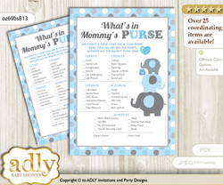 Boy Peanut What is in Mommy's Purse, Baby Shower Purse Game Printable Card , Blue Grey,  Polka
