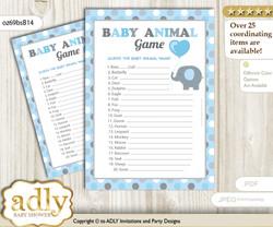 Printable Boy Peanut Baby Animal Game, Guess Names of Baby Animals Printable for Baby Peanut Shower, Blue Grey, Polka
