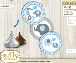 Printable  Boy Peanut Candy Kisses for Baby Boy Shower DIY Blue Grey , Polka