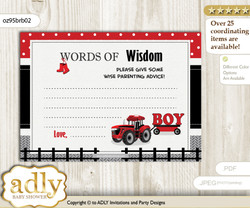 Red Black Boy Tractor Words of Wisdom or an Advice Printable Card for Baby Shower, Farmer