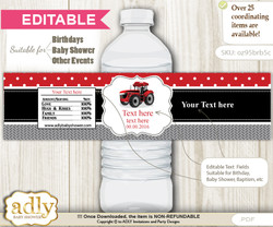 Text Editable Boy Tractor Water Bottle Label, DIY Personalizable Wrapper Digital File, print at home for any event