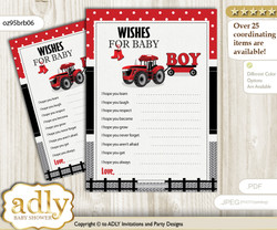 Boy Tractor Wishes for a Baby, Well Wishes for a Little Tractor Printable Card, Farmer, Red Black