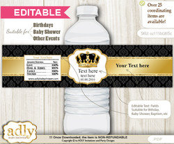 Text Editable Royal King Water Bottle Label, DIY Personalizable Wrapper Digital File, print at home for any event