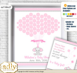 Girl Elephant Guest Book Alternative for a Baby Shower, Creative Nursery Wall Art Gift, Silver Pink, Polka