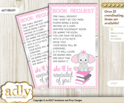 Request a Book Instead of a Card for Girl Elephant Baby Shower or Birthday, Printable Book DIY Tickets, Polka, Silver Pink