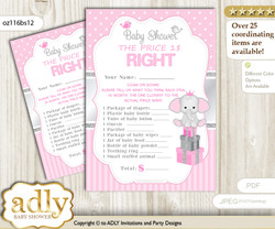 Printable Girl Elephant Price is Right Game Card for Baby Elephant Shower, Silver Pink, Polka