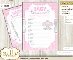 Printable Girl Elephant Baby Animal Game, Guess Names of Baby Animals Printable for Baby Elephant Shower, Silver Pink, Polka