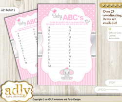 Girl Elephant Baby ABC's Game, guess Animals Printable Card for Baby Elephant Shower DIY – Polka n