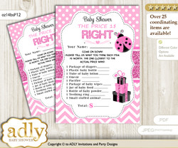 Printable Girl Ladybug Price is Right Game Card for Baby Ladybug Shower, Pink Black, Polka