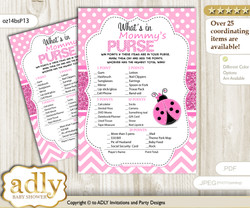 Girl Ladybug What is in Mommy's Purse, Baby Shower Purse Game Printable Card , Pink Black,  Polka
