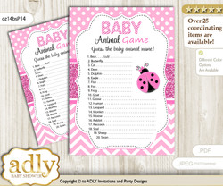 Printable Girl Ladybug Baby Animal Game, Guess Names of Baby Animals Printable for Baby Ladybug Shower, Pink Black, Polka