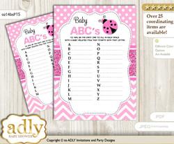 Girl Ladybug Baby ABC's Game, guess Animals Printable Card for Baby Ladybug Shower DIY – Polka