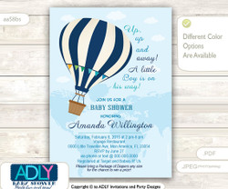 Blue Hot Air Balloon Baby Shower Invitation,Oh the Places You'll Go || Travel Baby Shower, Up and Away, Little Boy, Map