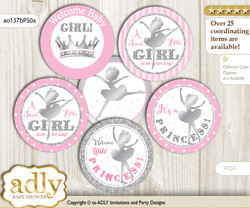 Baby Shower Ballet Ballerina Cupcake Toppers Printable File for Little Ballet and Mommy-to-be, favor tags, circle toppers, Polka, Pink Silver