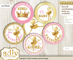 Baby Shower Ballet Ballerina Cupcake Toppers Printable File for Little Ballet and Mommy-to-be, favor tags, circle toppers, Polka, Pink Gold