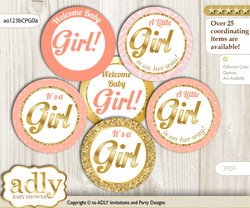 Baby Shower Baby Girl Cupcake Toppers Printable File for Little Baby and Mommy-to-be, favor tags, circle toppers, Glitter, Peach Pink