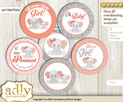 Baby Shower Peanut Elephant Cupcake Toppers Printable File for Little Peanut and Mommy-to-be, favor tags, circle toppers, Grey, Peach Pink