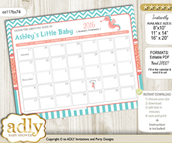 DIY Baby Seahorse Baby Due Date Calendar, guess baby arrival date game