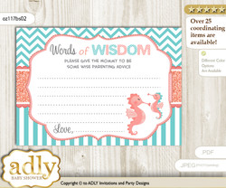 Coral Baby Seahorse Words of Wisdom or an Advice Printable Card for Baby Shower, Turquoise