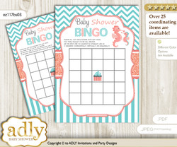 Printable Coral Seahorse Bingo Game Printable Card for Baby Baby Shower DIY grey, Coral, Turquoise