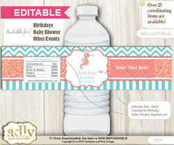 DIY Text Editable Baby Seahorse Water Bottle Label, Personalizable Wrapper Digital File, print at home for any event