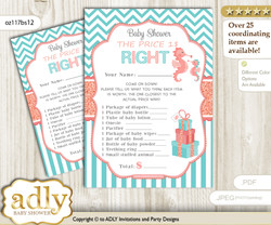 Printable Baby Seahorse Price is Right Game Card for Baby Seahorse Shower, Coral, Turquoise