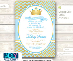 Baby Blue and Gold Prince Invitation for Royal Baby Shower Theme, powder blue,gold foil, chevron,crown, prince, king is on his way