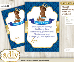 King  Prince Thank you Cards for a Baby King Shower or Birthday DIY Royal blue, African