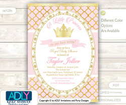 Gold Pink Princess Invitation for Royal Baby Shower Theme, powder pink,gold foil, golden crown, princess is on her way