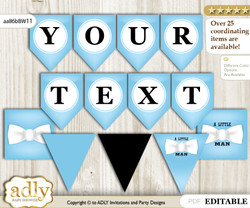 DIY Personalizable Boy Bow tie Printable Banner for Baby Shower, Blue White, Man