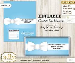 DIY Personalizable Boy Bow tie Chocolate Bar Candy Wrapper Label for Boy  baby shower, birthday Blue White , editable wrappers