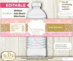 DIY Text Editable Coral Girl Water Bottle Label, Personalizable Wrapper Digital File, print at home for any event