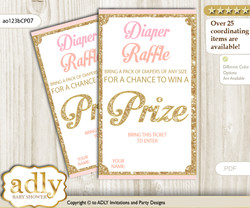 Coral Girl Diaper Raffle Printable Tickets for Baby Shower, Pink Gold, Glitter