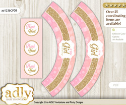 Printable Coral Girl Cupcake, Muffins Wrappers plus Thank You tags for Baby Shower Pink Gold, Glitter