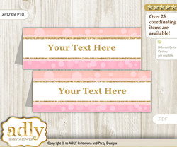 DIY Text Editable Printable Coral Girl Buffet Tags or Food Tent Labels  for a Baby Shower or Birthday , Pink Gold, Glitter