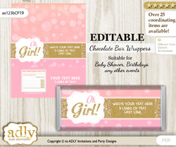 DIY Personalizable Coral Girl Chocolate Bar Candy Wrapper Label for Coral  baby shower, birthday Pink Gold , editable wrappers