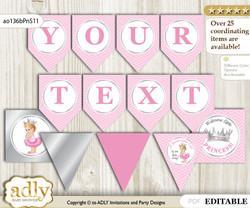 DIY Personalizable Royal Princess Printable Banner for Baby Shower, Pink Silver, Chevron