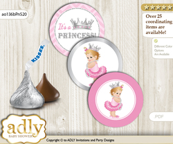 Printable  Royal Princess Candy Kisses for Baby Royal Shower DIY Pink Silver , Chevron