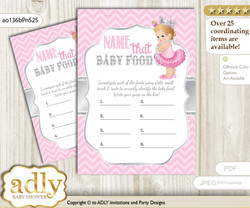 Royal Princess Guess Baby Food Game or Name That Baby Food Game for a Baby Shower, Pink Silver Chevron
