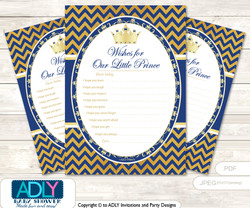 Crown  Prince Wishes for a Baby, Well Wishes for a Little Prince Printable Card,  Chevron ,  Gold Blue